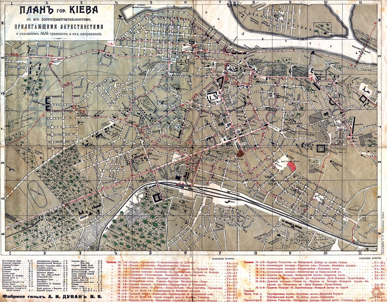 Старинная карта Киева