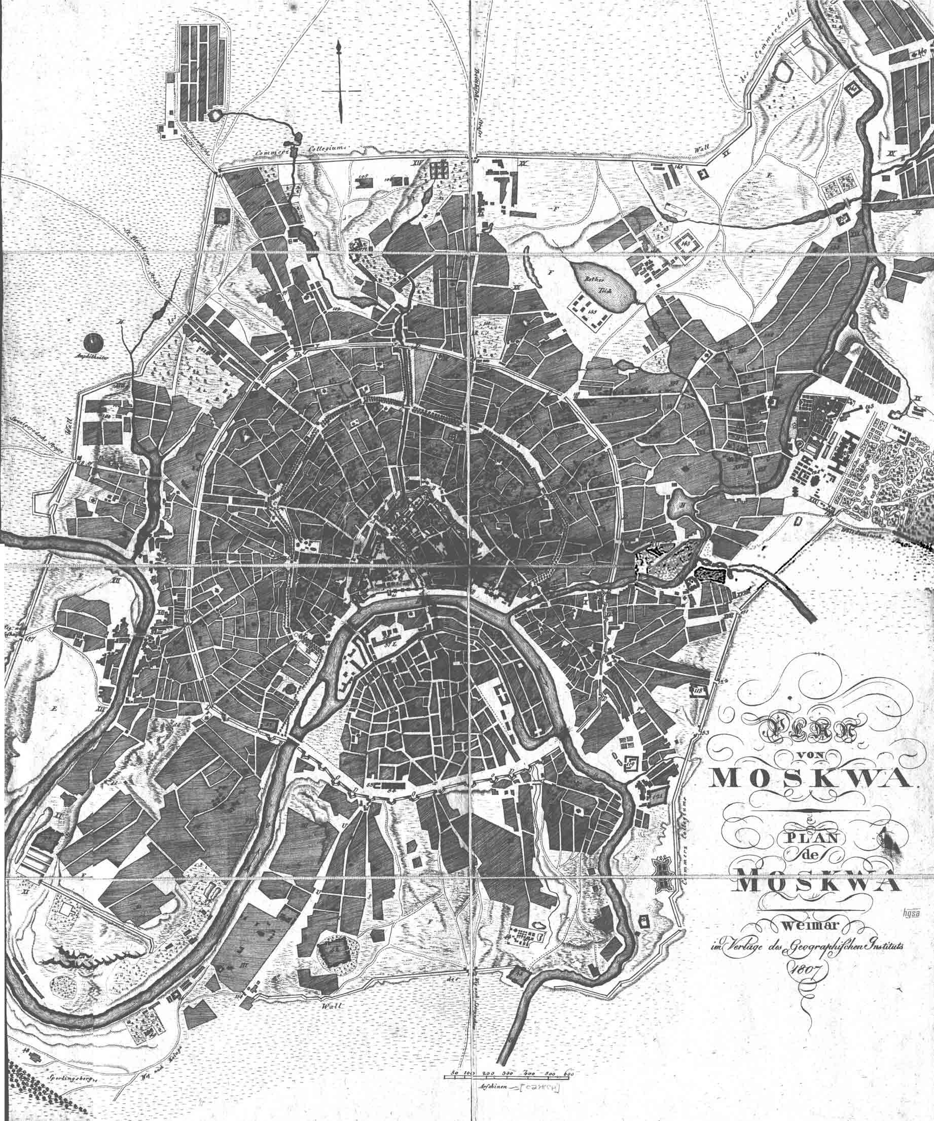 Старинная карта Москвы, 1807 год