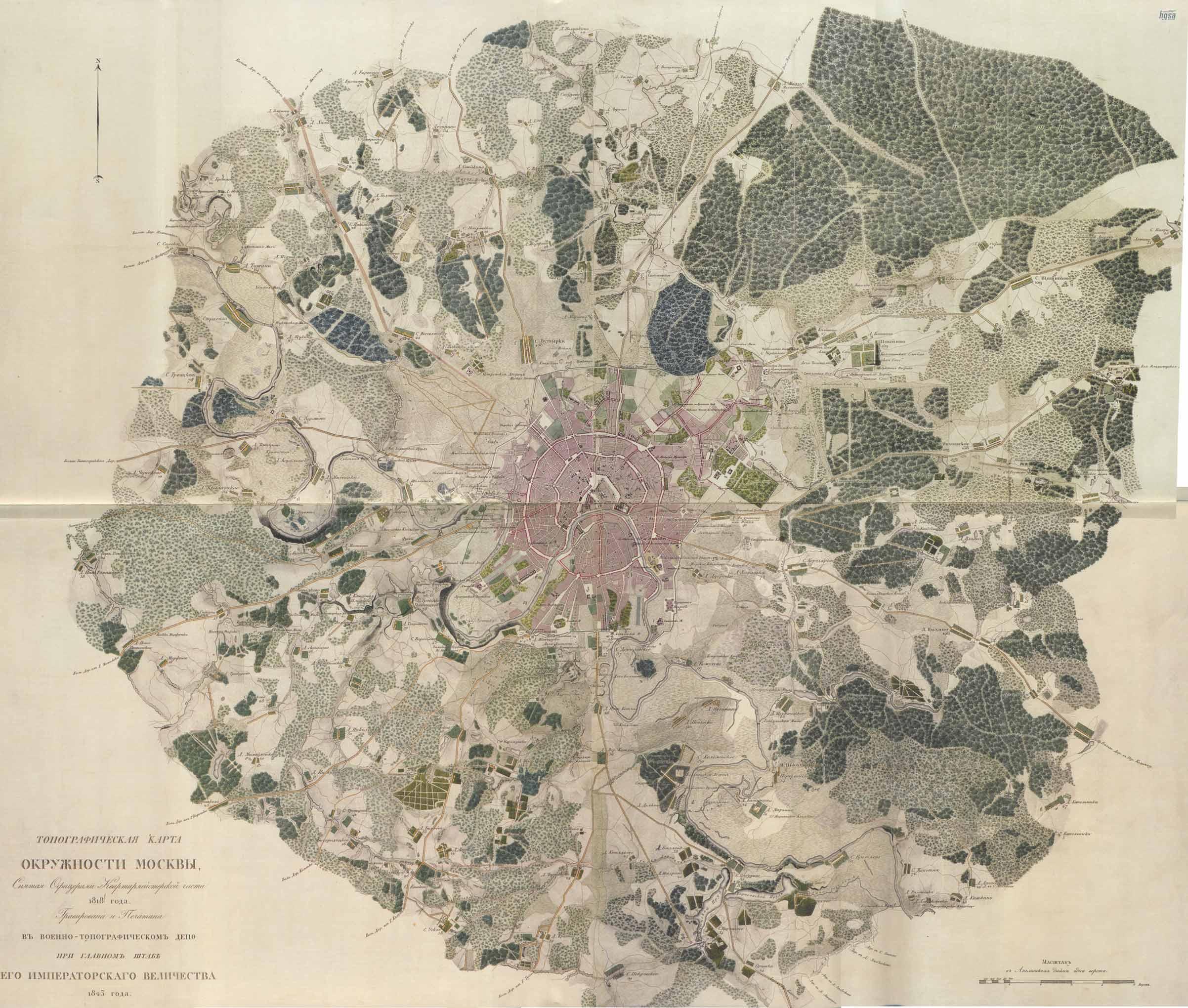 Старинная карта Москвы, 1818 год