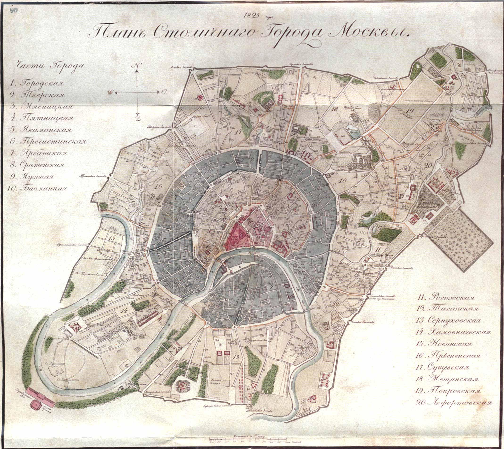 Старинная карта Москвы, 1825 год