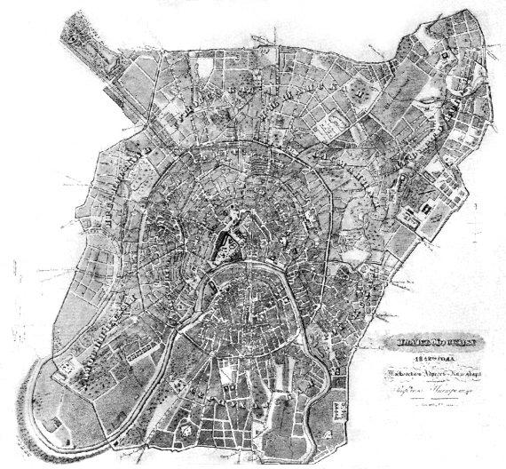 Старинная карта Москвы, 1842 год