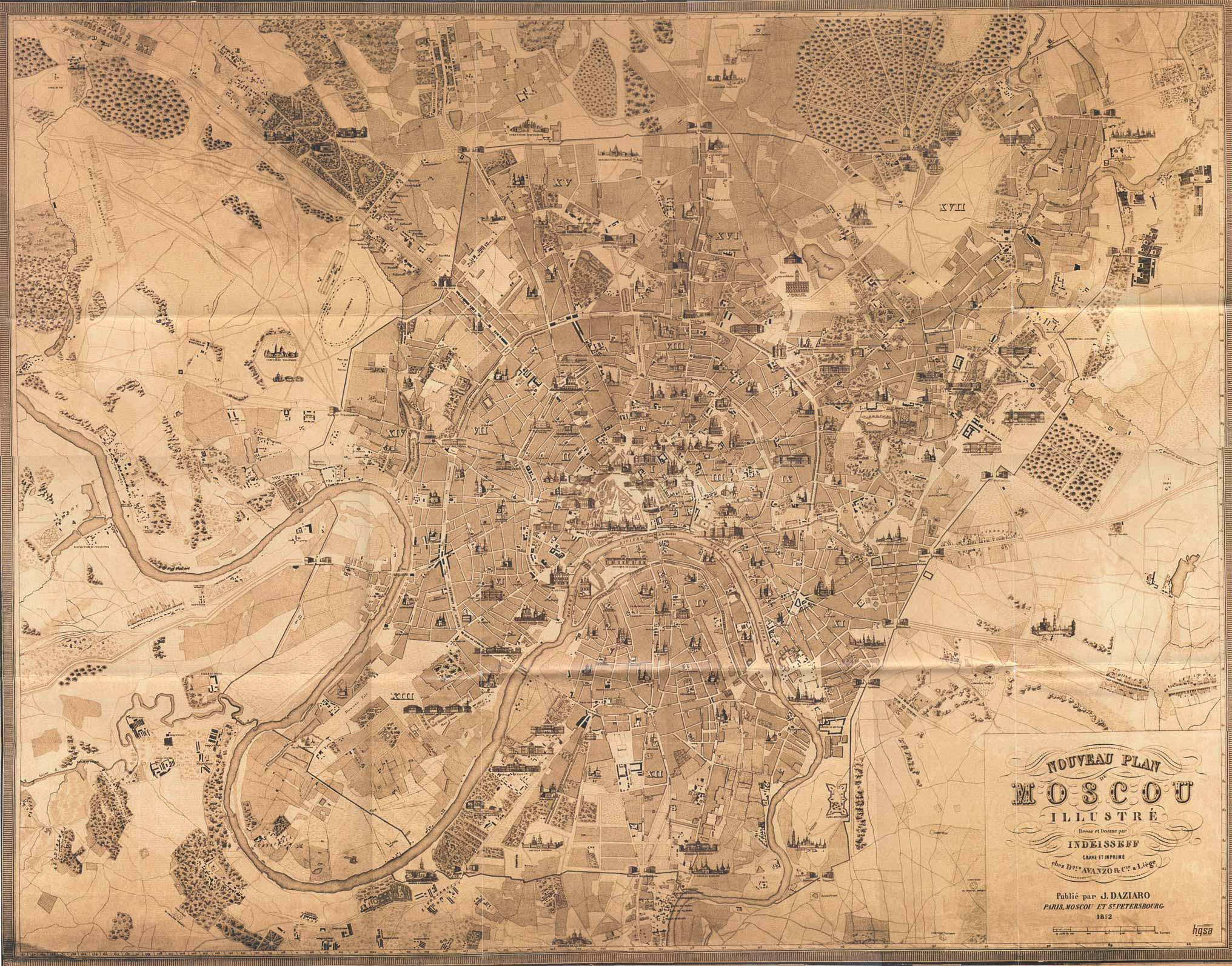 Старинная карта Москвы, 1852 год